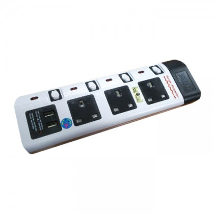 SUM EXTENSION 3 WAY 3 PIN PSO WITH 2 USB PORTS - 2M