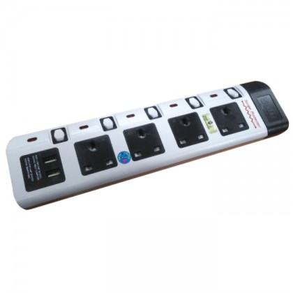 SUM EXTENSION 4 WAY 3 PIN PSO WITH 2 USB PORTS - 2M
