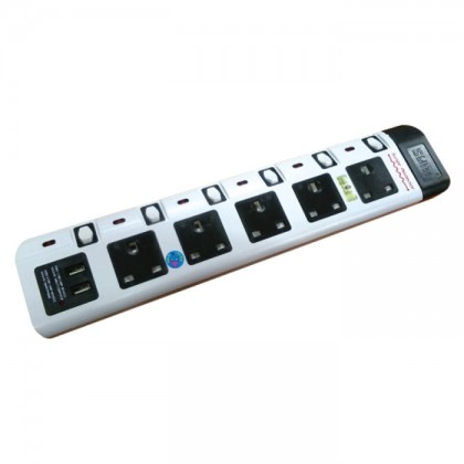 SUM EXTENSION 5 WAY 3 PIN PSO WITH 2 USB PORTS - 2M