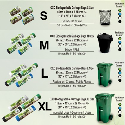Cleanguard OXO Biodegradable Garbage Bag (Eco Friendly) (Size : S, M, L, XL)
